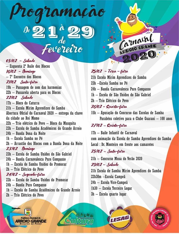 Divulgada a programação do Carnaval 2020 de Arroio Grande!