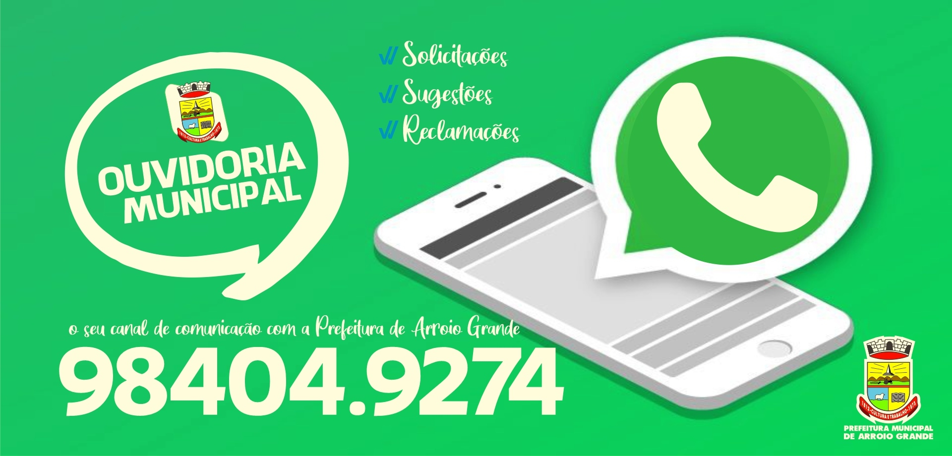 Ouvidoria Municipal inicia atendimento via Whatsapp